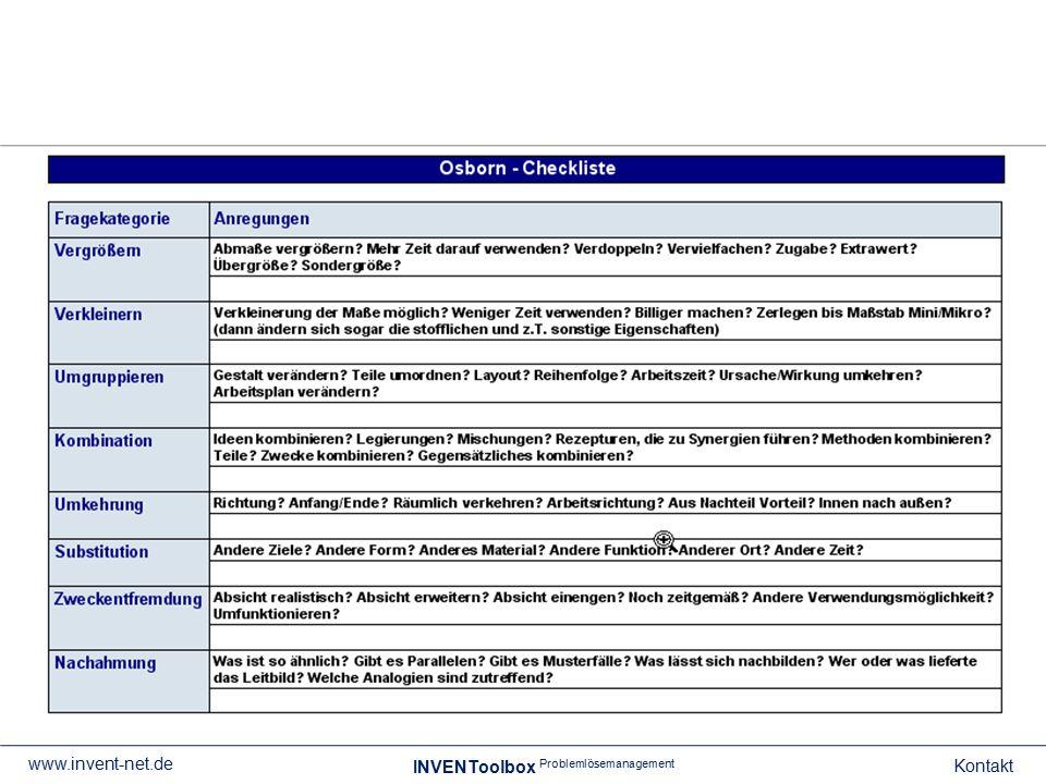 Gesamtverzeichnis der Tools INVENToolbox Problemlösemanagement Kontakt www.invent-net.de Toolname ABC-Problem-AnalyseABC-Tätigkeits-Analyse AenderungsstrategienAnalyse Außendienst Ansoff-MatrixArbeitsauftrag Arbeitsvertrags-GeneratorArbeitszeugnis-Generator ArgumentationskaskadeARIZ/TRIZ attribute listingAufgaben Projektleiter Aufgabenkontrolle Aufhebungsvertrags- Generator BalkendiagrammBenchmarking Berater-CheckBeratervertrag Berufsweg-PlanungBesprechungseinladung BesprechungsprotokollBewertungsverfahren BionikBrainstorming (vers.