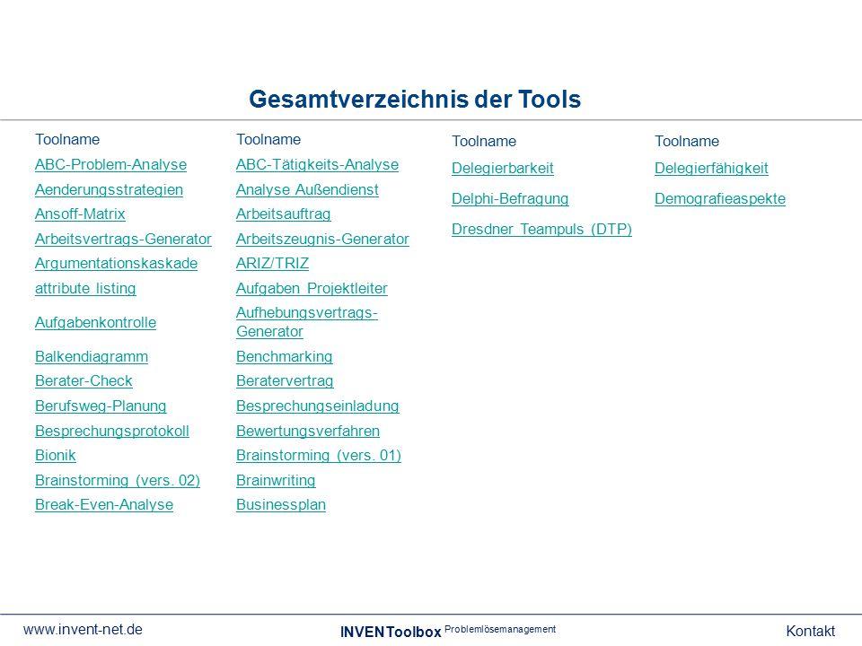 Gesamtverzeichnis der Tools INVENToolbox Problemlösemanagement Kontakt www.invent-net.de Toolname ABC-Problem-AnalyseABC-Tätigkeits-Analyse Aenderungs