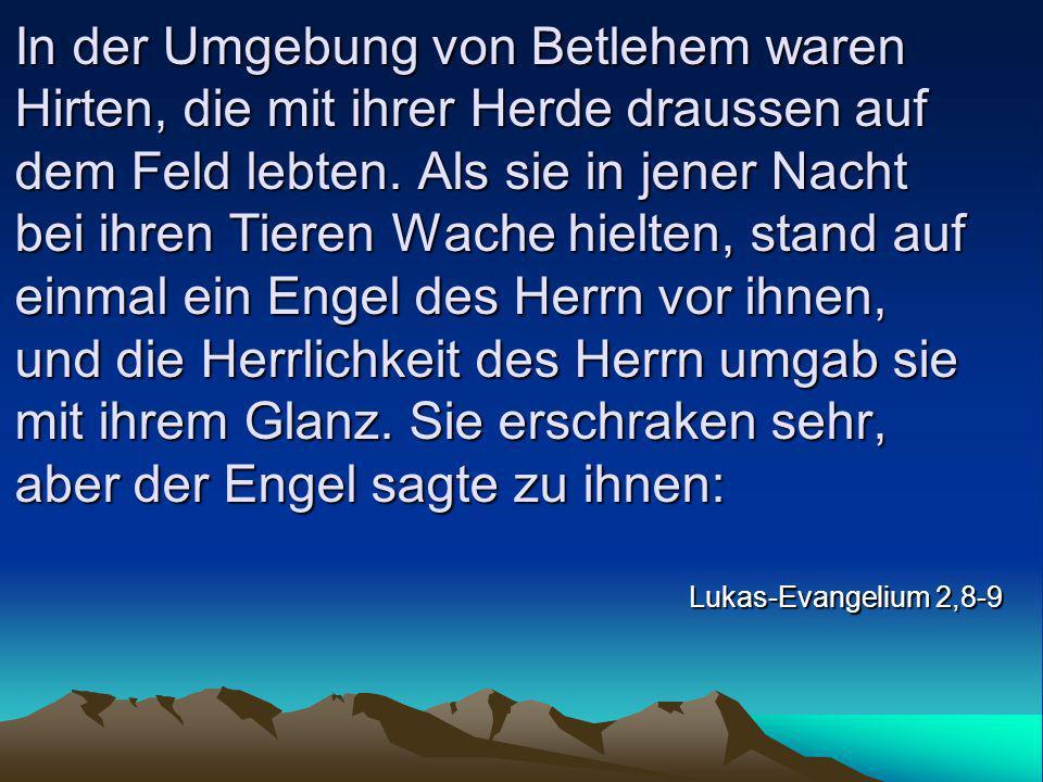 """""""Ehre und Herrlichkeit Gott in der Höhe, und Frieden auf der Erde für die Menschen, auf denen sein Wohlgefallen ruht. Lukas-Evangelium 2,14"""