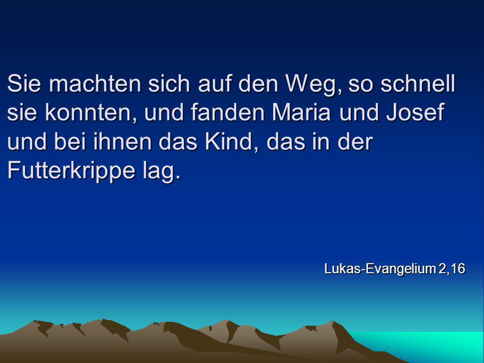 Sie machten sich auf den Weg, so schnell sie konnten, und fanden Maria und Josef und bei ihnen das Kind, das in der Futterkrippe lag. Lukas-Evangelium
