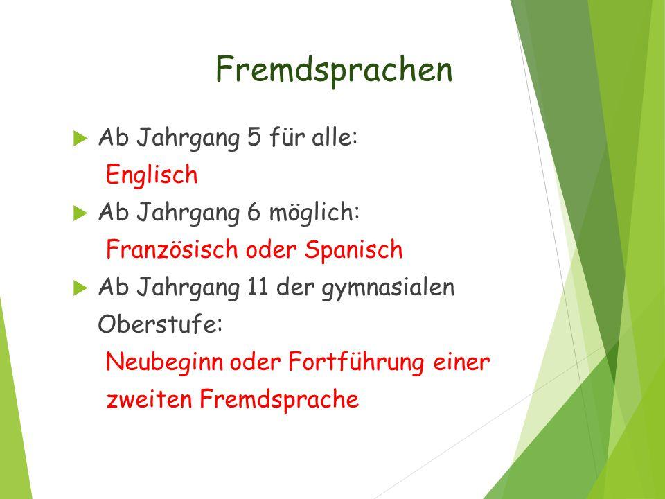 Fremdsprachen  Ab Jahrgang 5 für alle: Englisch  Ab Jahrgang 6 möglich: Französisch oder Spanisch  Ab Jahrgang 11 der gymnasialen Oberstufe: Neubeg