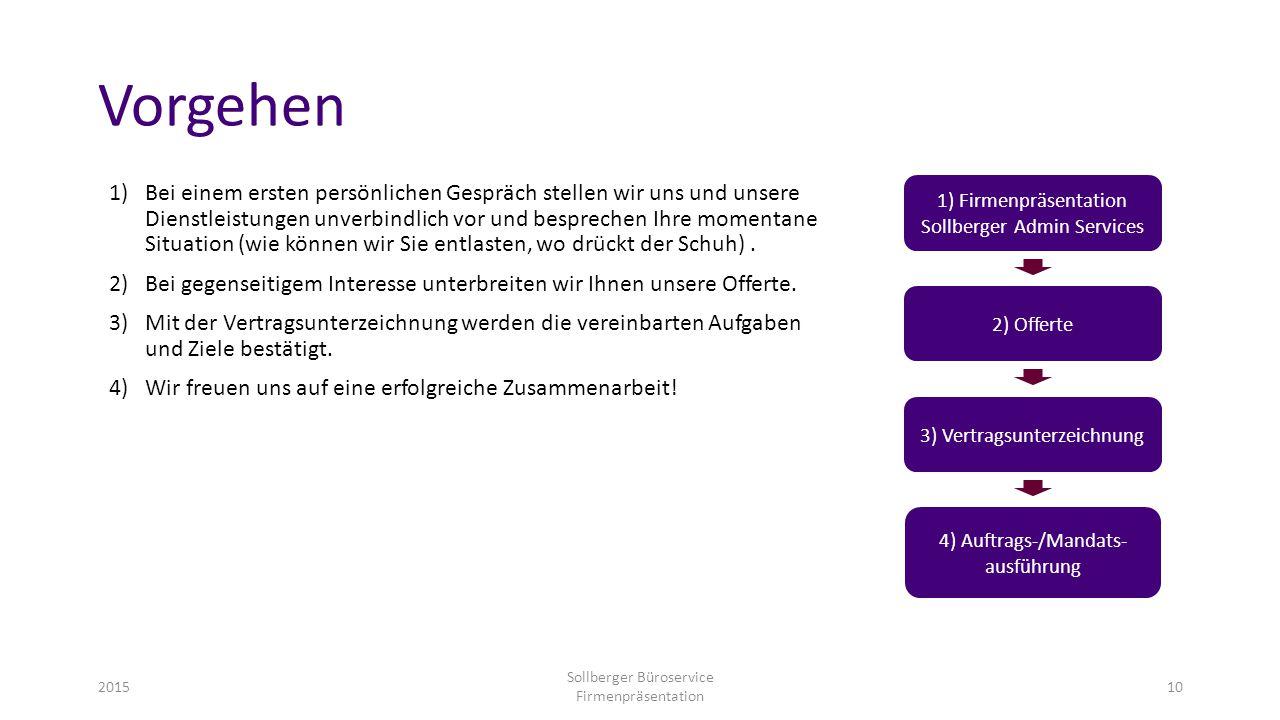 Vorgehen 2015 Sollberger Büroservice Firmenpräsentation 10 1)Bei einem ersten persönlichen Gespräch stellen wir uns und unsere Dienstleistungen unverb
