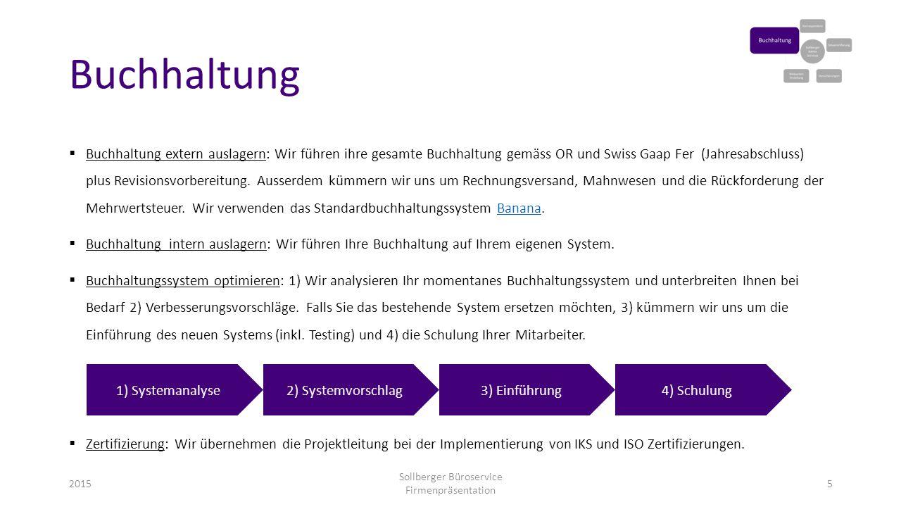 Buchhaltung  Buchhaltung extern auslagern: Wir führen ihre gesamte Buchhaltung gemäss OR und Swiss Gaap Fer (Jahresabschluss) plus Revisionsvorbereit