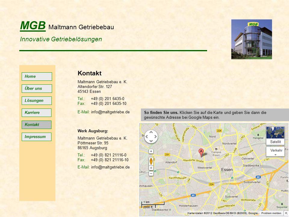 MGB Maltmann Getriebebau Innovative Getriebelösungen Home Lösungen Kontakt Impressum Über uns Kontakt Maltmann Getriebebau e.