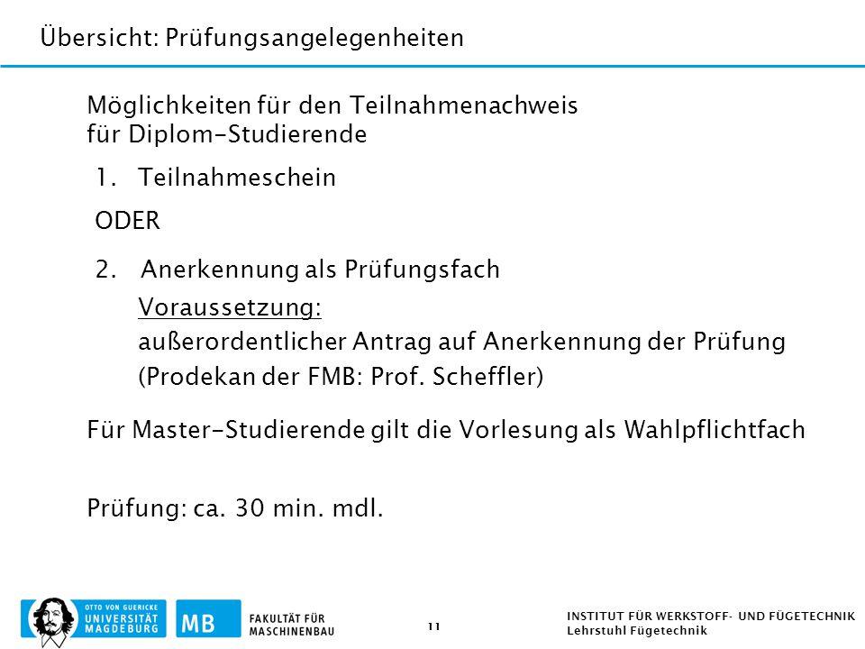 11 INSTITUT FÜR WERKSTOFF- UND FÜGETECHNIK Lehrstuhl Fügetechnik Möglichkeiten für den Teilnahmenachweis für Diplom-Studierende 1.Teilnahmeschein ODER