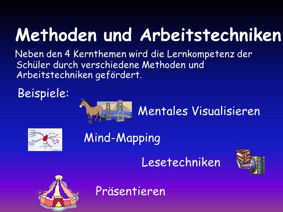 Methoden und Arbeitstechniken Mind-Mapping Mentales Visualisieren Lesetechniken Neben den 4 Kernthemen wird die Lernkompetenz der Schüler durch verschiedene Methoden und Arbeitstechniken gefördert.