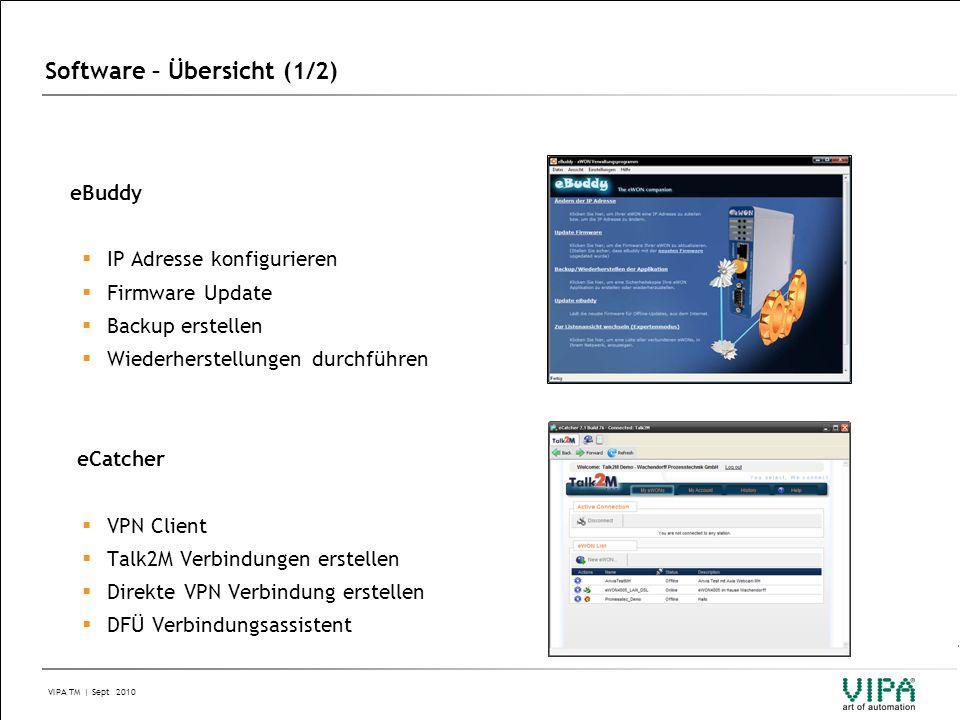 VIPA TM | Sept 2010 Software – Übersicht (1/2) eBuddy  IP Adresse konfigurieren  Firmware Update  Backup erstellen  Wiederherstellungen durchführen eCatcher  VPN Client  Talk2M Verbindungen erstellen  Direkte VPN Verbindung erstellen  DFÜ Verbindungsassistent