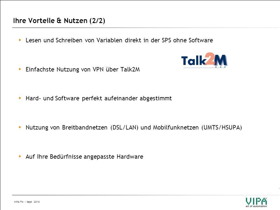 VIPA TM | Sept 2010 Ihre Vorteile & Nutzen (2/2) IM 306IM 306  Lesen und Schreiben von Variablen direkt in der SPS ohne Software  Einfachste Nutzung