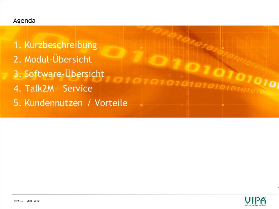 VIPA TM | Sept 2010 Agenda 1. Kurzbeschreibung 2. Modul-Übersicht 3. Software-Übersicht 4. Talk2M – Service 5. Kundennutzen / Vorteile