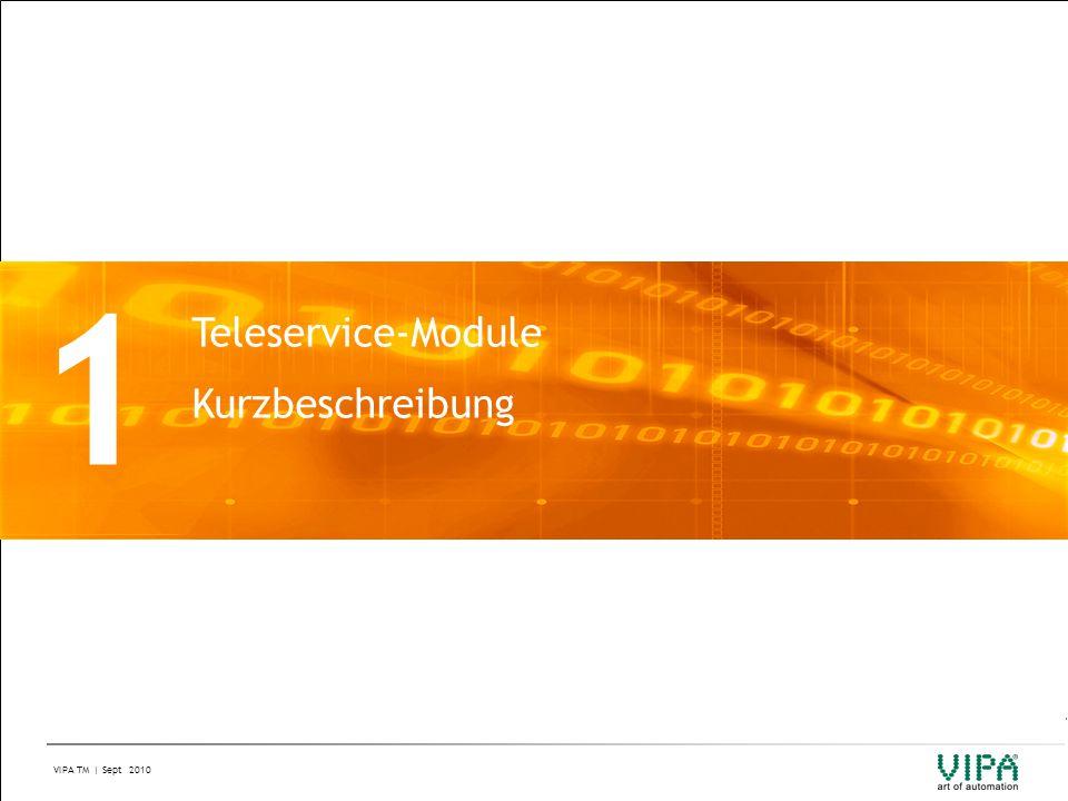 VIPA TM | Sept 2010 Kurzbeschreibung (1/2) Was leisten Teleservice-Module von VIPA.