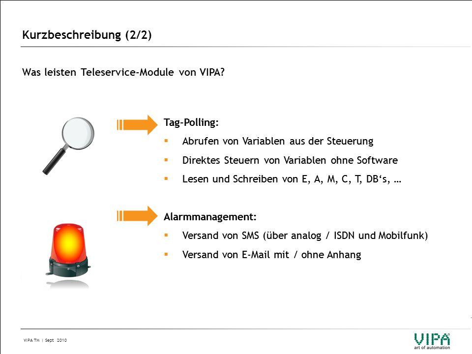 VIPA TM | Sept 2010 Ihre Vorteile & Nutzen (1/2) IM 306IM 306  Kompaktes und robustes Gerät, Montage auf 35mm Hutschiene  Verschiedene Modemtypen bereits integriert (Analog, ISDN, GPM/GPRS)  Konfiguration über Webinterface (keine Software nötig)  MPI / PB Schnittstelle integriert  Zugriff über LAN auf jeden Ihrer Netzwerkteilnehmer  Integriertes Alarmmanagement (SMS und E-Mail)