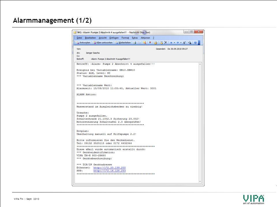 VIPA TM | Sept 2010 Alarmmanagement (2/2)