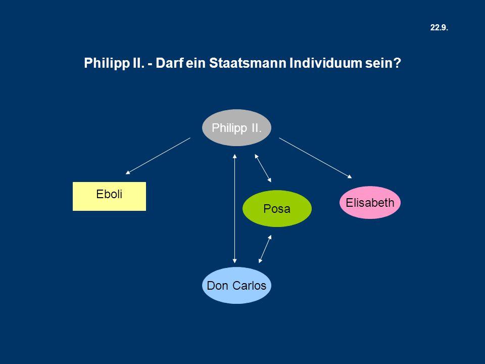 Don Carlos Elisabeth Posa Philipp II. Eboli Philipp II. - Darf ein Staatsmann Individuum sein? 22.9.
