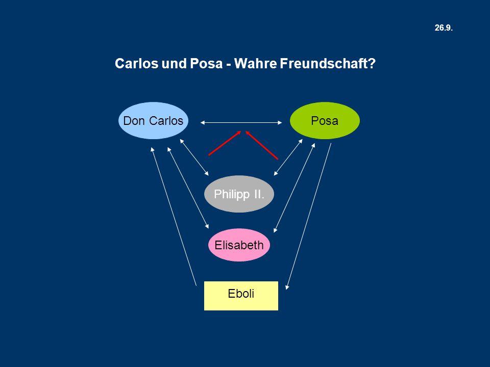 Don Carlos Elisabeth Posa Philipp II. Eboli Carlos und Posa - Wahre Freundschaft? 26.9.