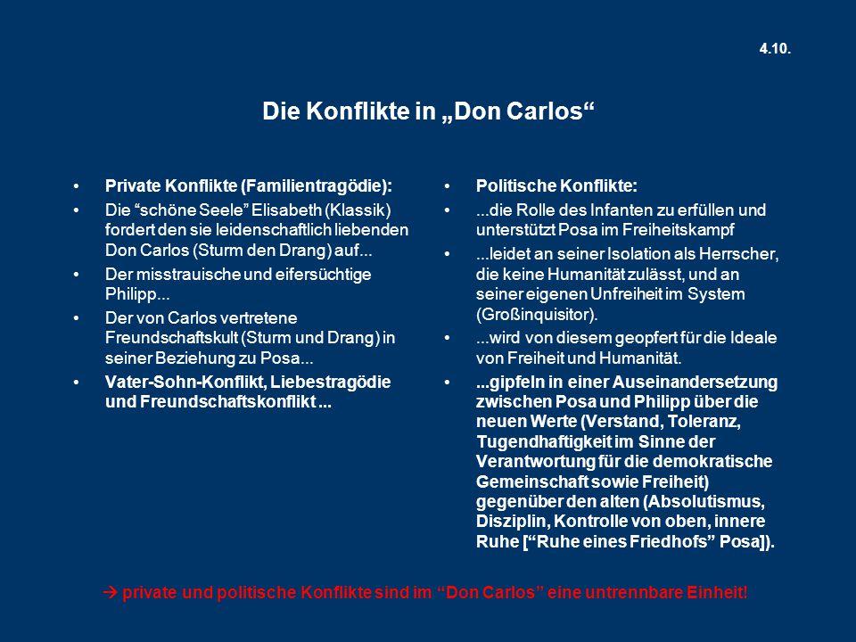 """Die Konflikte in """"Don Carlos Private Konflikte (Familientragödie): Die schöne Seele Elisabeth (Klassik) fordert den sie leidenschaftlich liebenden Don Carlos (Sturm den Drang) auf..."""