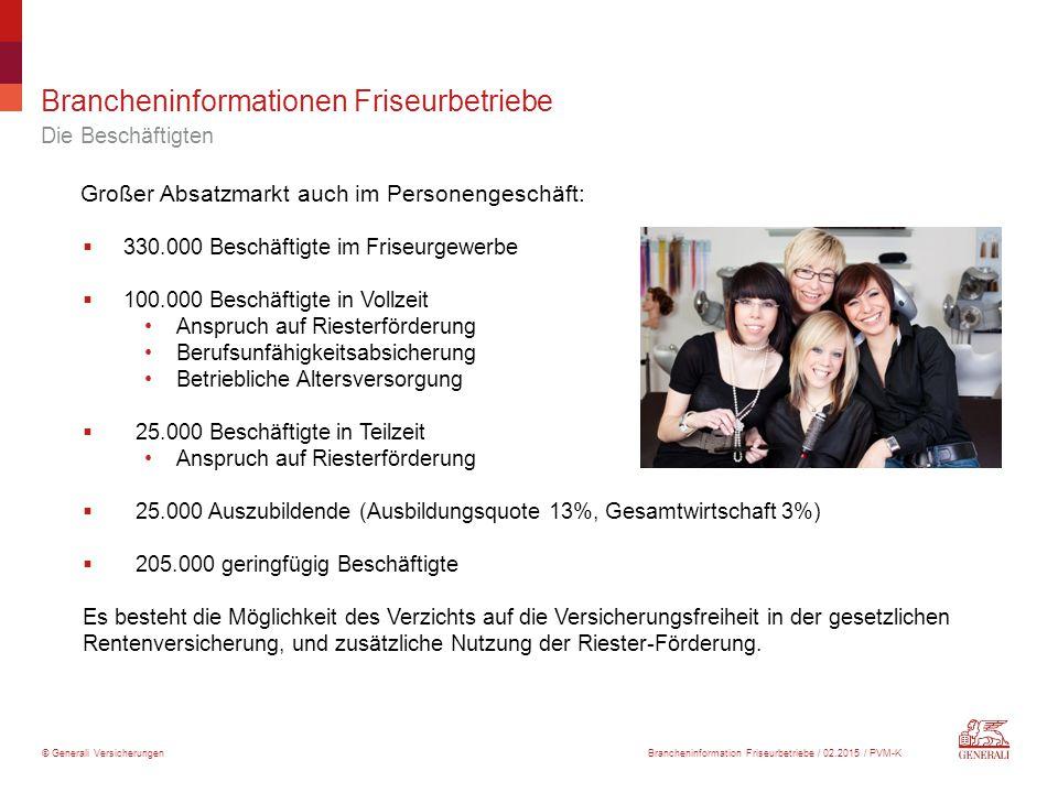 © Generali Versicherungen Großer Absatzmarkt auch im Personengeschäft:  330.000 Beschäftigte im Friseurgewerbe  100.000 Beschäftigte in Vollzeit Ans