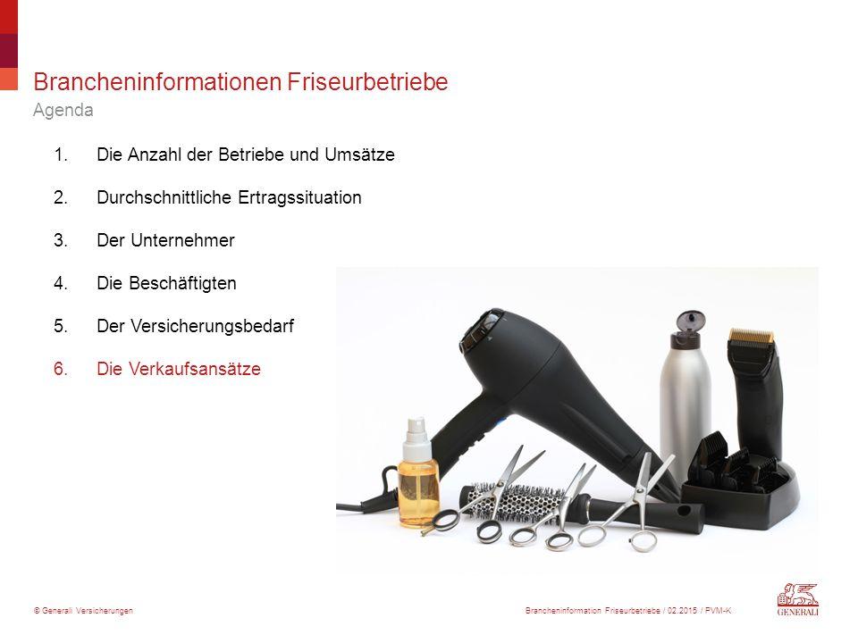 © Generali Versicherungen Brancheninformationen Friseurbetriebe Agenda 1.Die Anzahl der Betriebe und Umsätze 2.Durchschnittliche Ertragssituation 3.De