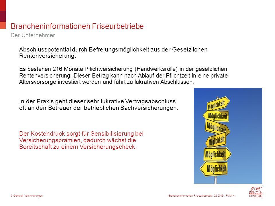 © Generali Versicherungen Brancheninformationen Friseurbetriebe Der Unternehmer Abschlusspotential durch Befreiungsmöglichkeit aus der Gesetzlichen Re
