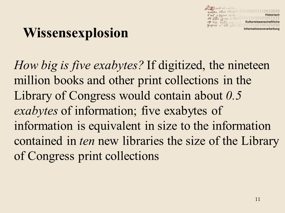How big is five exabytes? If digitized, the nineteen million books and other print collections in the Library of Congress would contain about 0.5 exab
