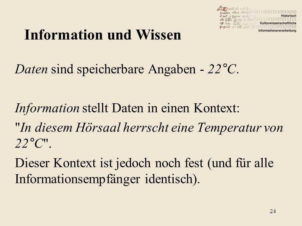 Daten sind speicherbare Angaben - 22°C. Information stellt Daten in einen Kontext: