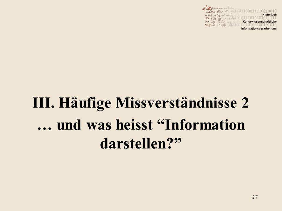 """III. Häufige Missverständnisse 2 … und was heisst """"Information darstellen?"""" 27"""