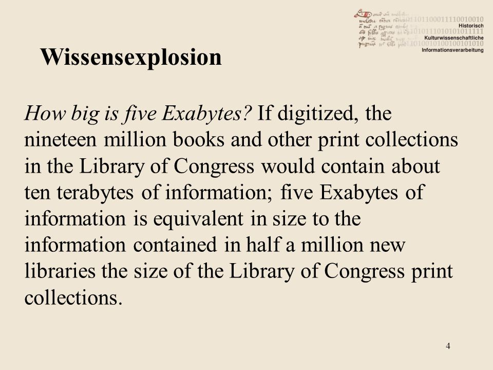 How big is five Exabytes? If digitized, the nineteen million books and other print collections in the Library of Congress would contain about ten tera