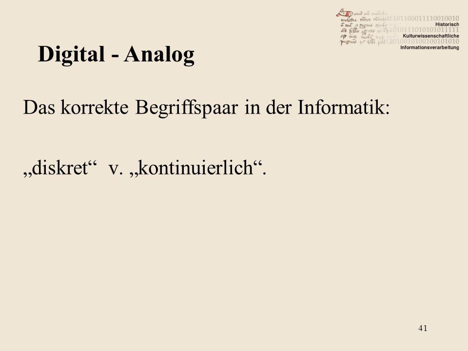 """Das korrekte Begriffspaar in der Informatik: """"diskret"""" v. """"kontinuierlich"""". Digital - Analog 41"""
