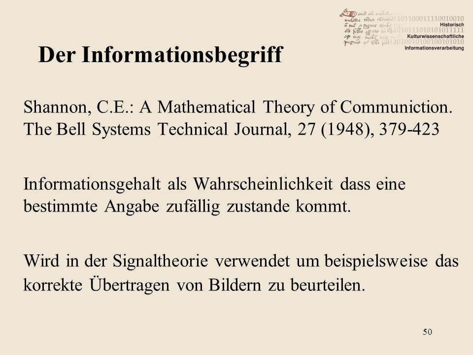 Shannon, C.E.: A Mathematical Theory of Communiction. The Bell Systems Technical Journal, 27 (1948), 379-423 Informationsgehalt als Wahrscheinlichkeit