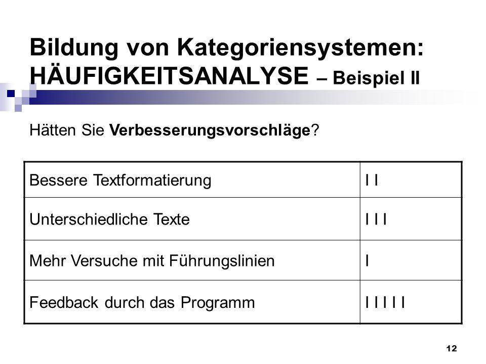 12 Bildung von Kategoriensystemen: HÄUFIGKEITSANALYSE – Beispiel II Bessere TextformatierungI Unterschiedliche TexteI I I Mehr Versuche mit Führungsli