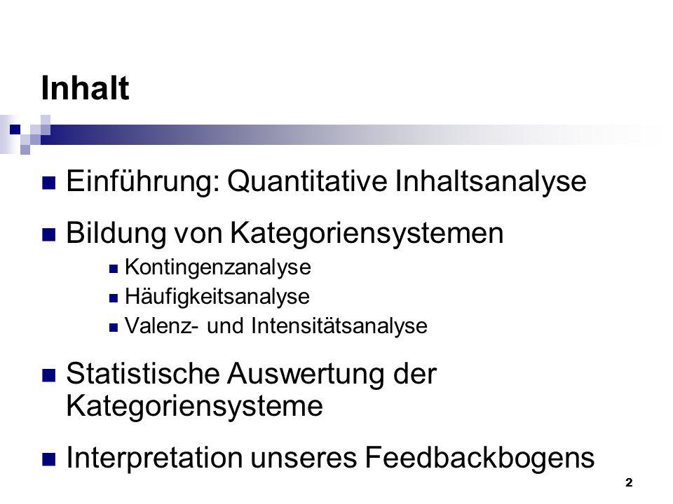 2 Inhalt Einführung: Quantitative Inhaltsanalyse Bildung von Kategoriensystemen Kontingenzanalyse Häufigkeitsanalyse Valenz- und Intensitätsanalyse St