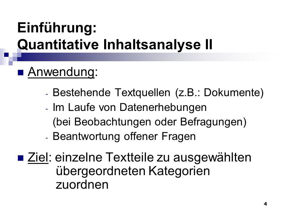 4 Einführung: Quantitative Inhaltsanalyse II Anwendung: - Bestehende Textquellen (z.B.: Dokumente) - Im Laufe von Datenerhebungen (bei Beobachtungen o