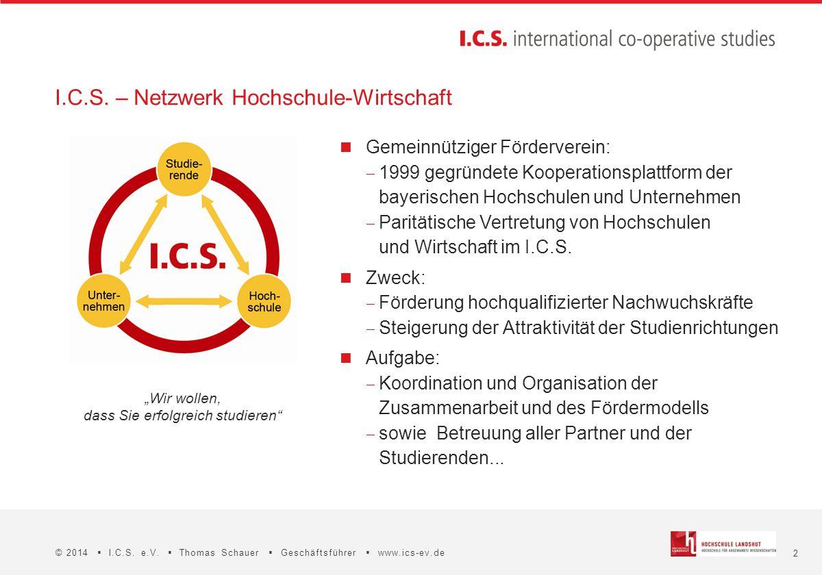 2 © 2014  I.C.S. e.V.  Thomas Schauer  Geschäftsführer  www.ics-ev.de I.C.S. – Netzwerk Hochschule-Wirtschaft Gemeinnütziger Förderverein:  1999
