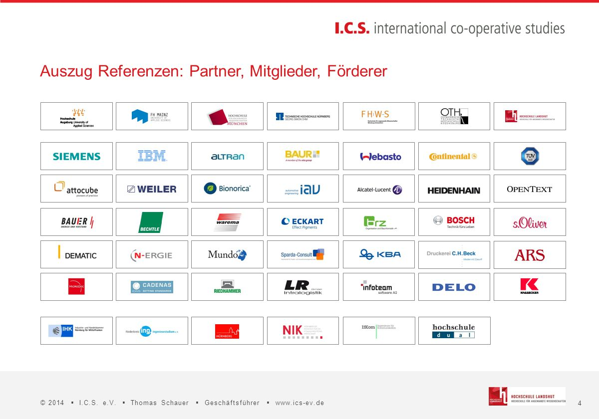 4 © 2014  I.C.S. e.V.  Thomas Schauer  Geschäftsführer  www.ics-ev.de Auszug Referenzen: Partner, Mitglieder, Förderer