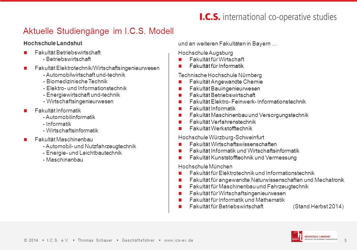 5 © 2014  I.C.S. e.V.  Thomas Schauer  Geschäftsführer  www.ics-ev.de Aktuelle Studiengänge im I.C.S. Modell und an weiteren Fakultäten in Bayern