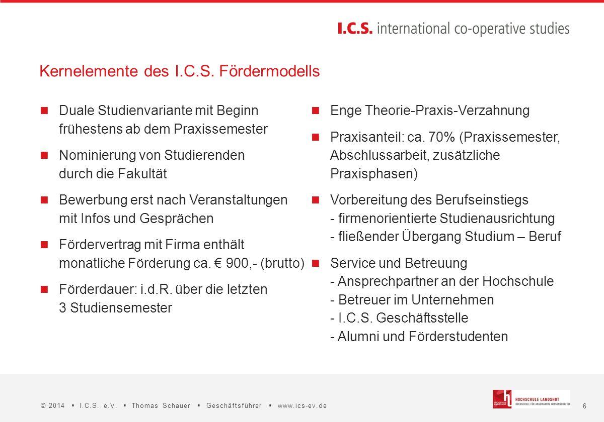 6 © 2014  I.C.S. e.V.  Thomas Schauer  Geschäftsführer  www.ics-ev.de Duale Studienvariante mit Beginn frühestens ab dem Praxissemester Nominierun