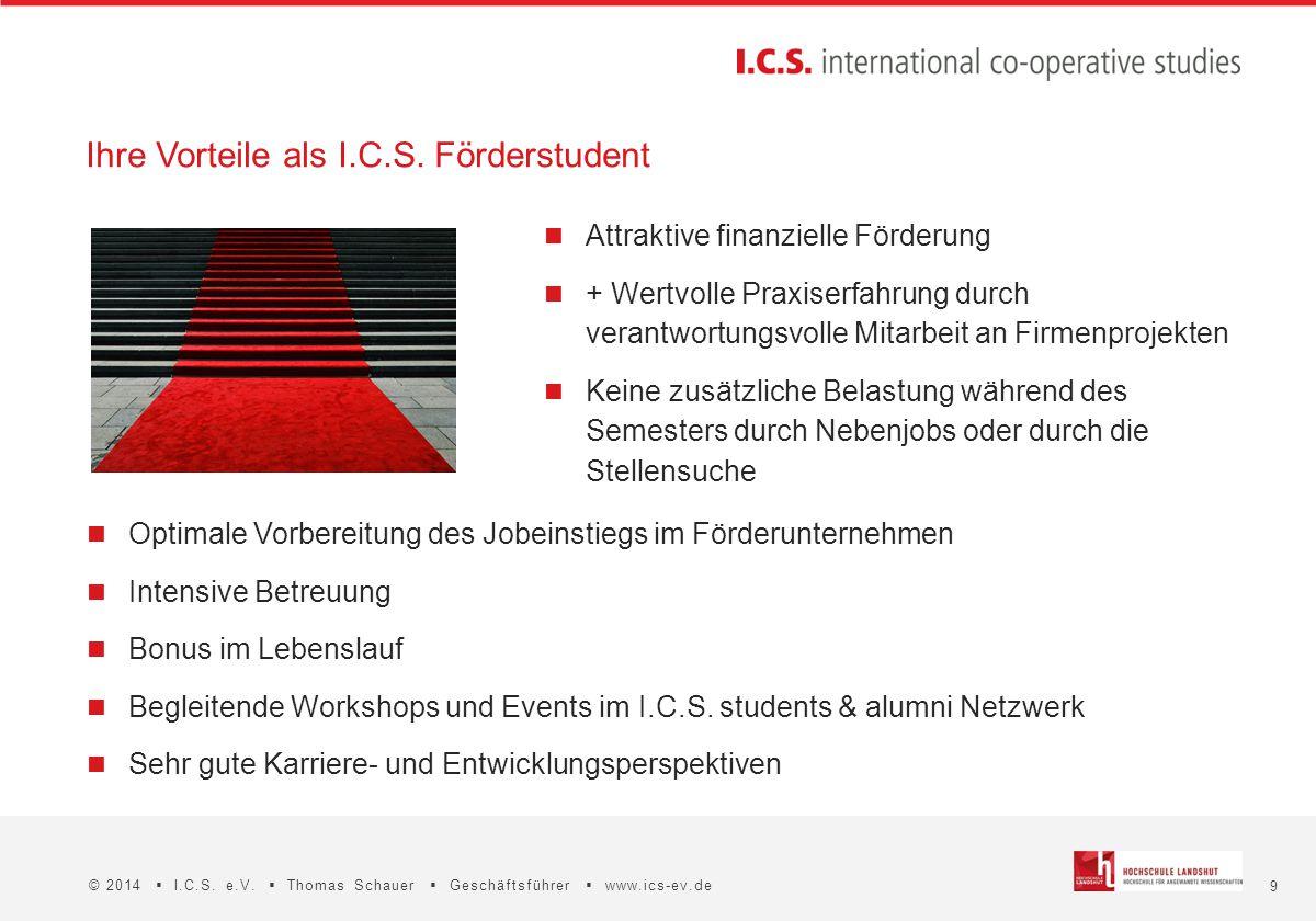 9 © 2014  I.C.S. e.V.  Thomas Schauer  Geschäftsführer  www.ics-ev.de Optimale Vorbereitung des Jobeinstiegs im Förderunternehmen Intensive Betreu