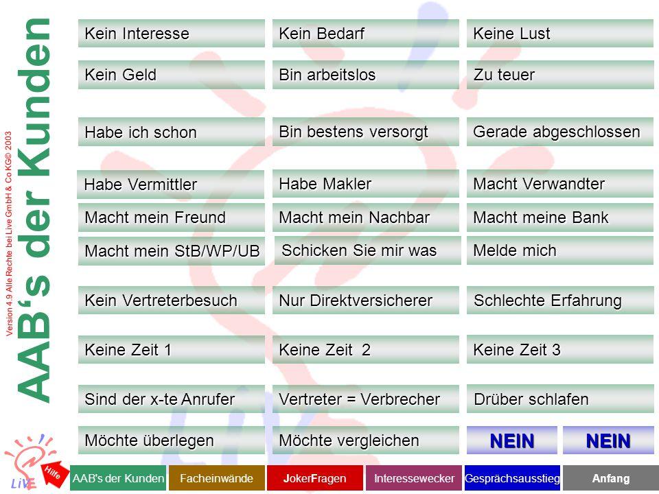 Version 4.9 Alle Rechte bei Live GmbH & Co KG© 2003 Ich verstehe, dass manchen Mitarbeitern das Geld in der Tasche wichtiger ist als, Vorsorge zu betreiben.