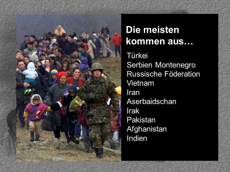 Die meisten kommen aus… Türkei Serbien Montenegro Russische Föderation Vietnam Iran Aserbaidschan Irak Pakistan Afghanistan Indien