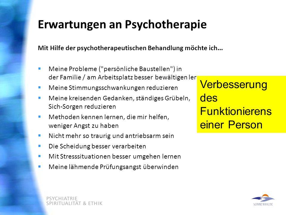Erwartungen an Psychotherapie Mit Hilfe der psychotherapeutischen Behandlung möchte ich...