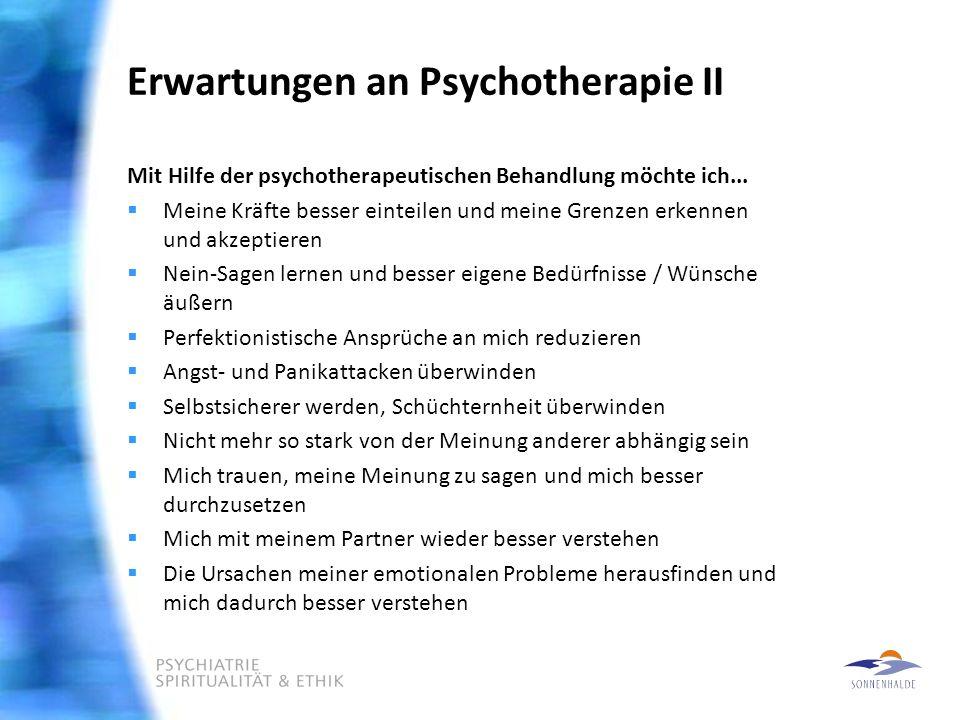 Erwartungen an Psychotherapie II Mit Hilfe der psychotherapeutischen Behandlung möchte ich...