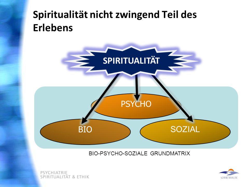 Spiritualität nicht zwingend Teil des Erlebens BIO SOZIAL PSYCHO SPIRITUALITÄT BIO-PSYCHO-SOZIALE GRUNDMATRIX