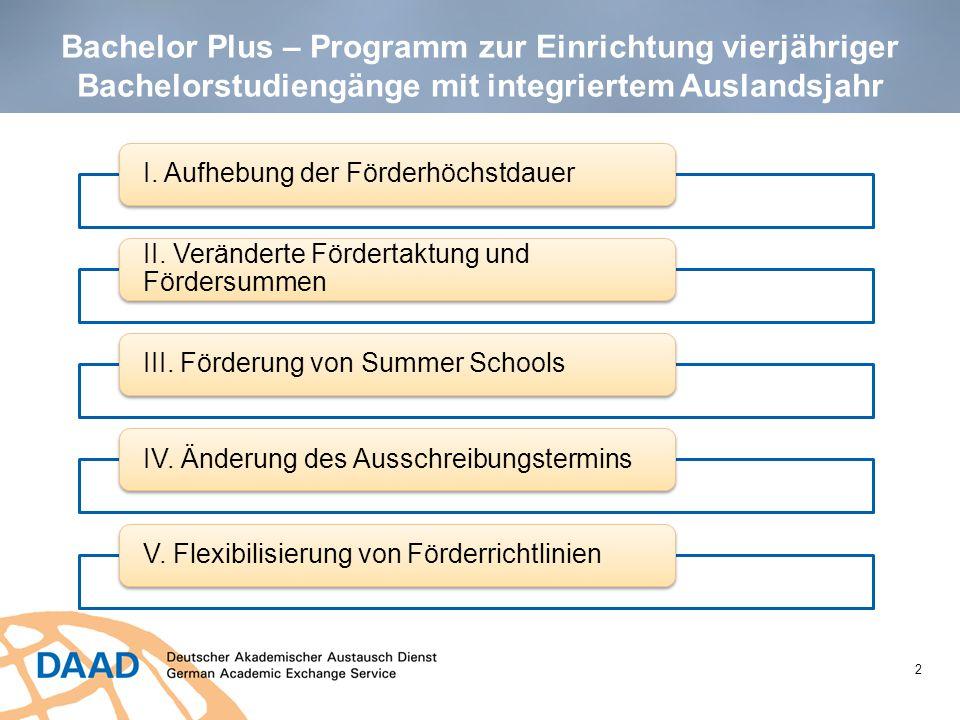 Bachelor Plus – Programm zur Einrichtung vierjähriger Bachelorstudiengänge mit integriertem Auslandsjahr 2 I. Aufhebung der Förderhöchstdauer II. Verä