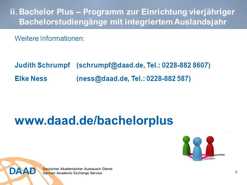 ii. Bachelor Plus – Programm zur Einrichtung vierjähriger Bachelorstudiengänge mit integriertem Auslandsjahr Weitere Informationen: Judith Schrumpf (s