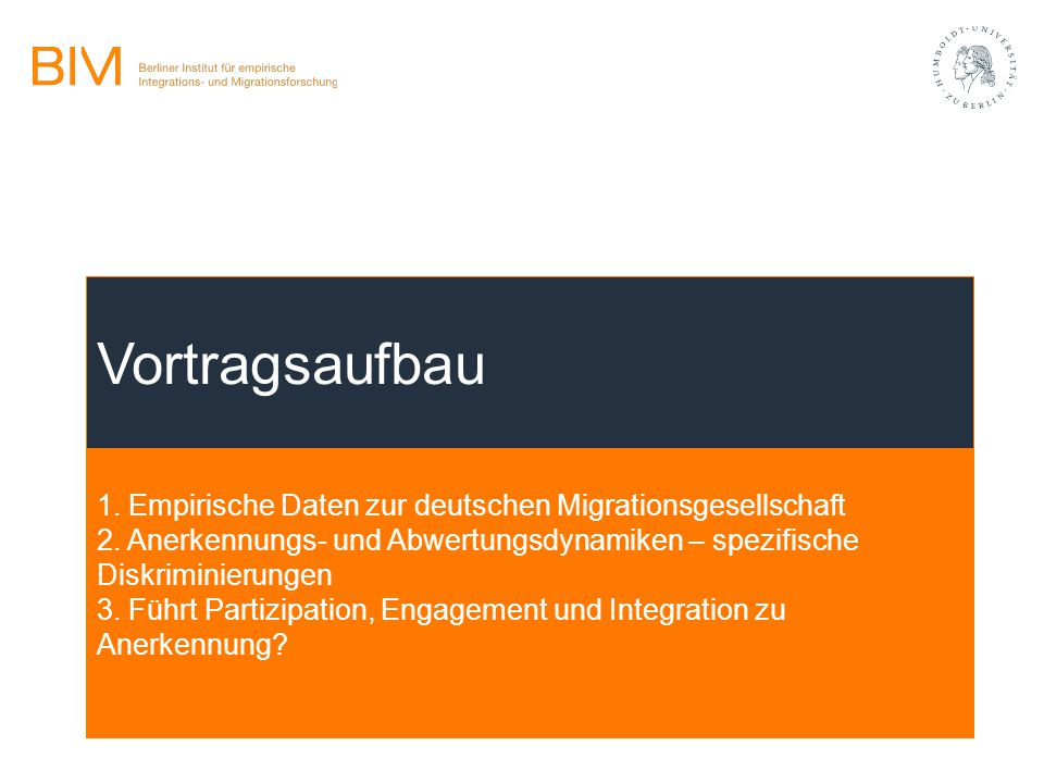 1. Empirische Daten zur deutschen Migrationsgesellschaft 2. Anerkennungs- und Abwertungsdynamiken – spezifische Diskriminierungen 3. Führt Partizipati