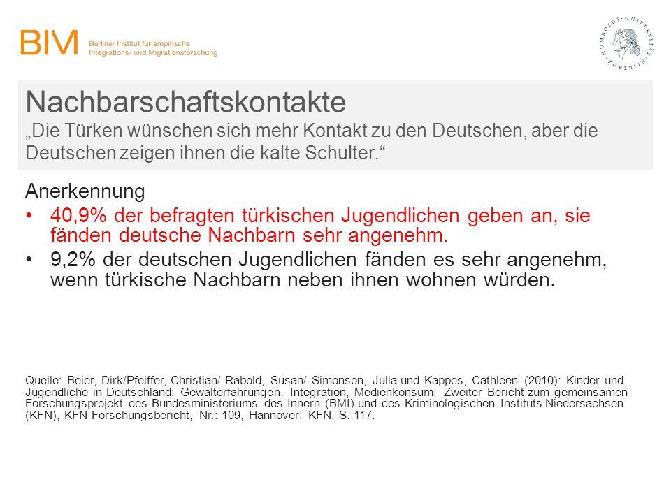 """Nachbarschaftskontakte """"Die Türken wünschen sich mehr Kontakt zu den Deutschen, aber die Deutschen zeigen ihnen die kalte Schulter."""" Anerkennung 40,9%"""