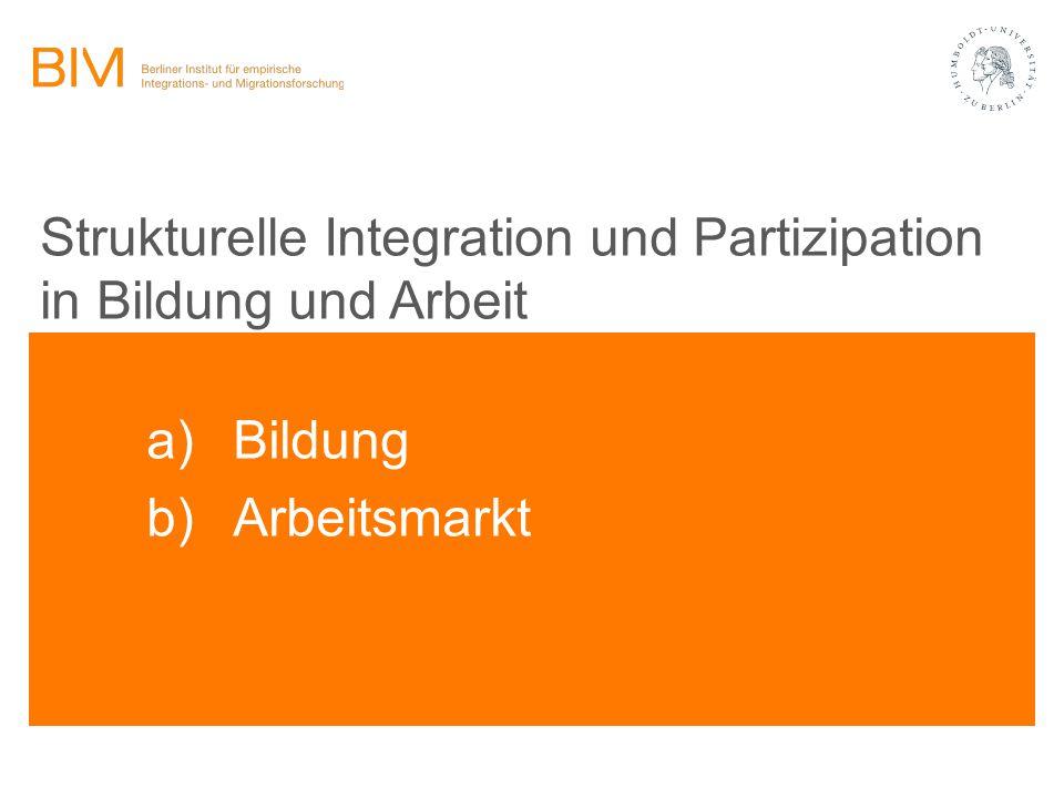Strukturelle Integration und Partizipation in Bildung und Arbeit a) Bildung b) Arbeitsmarkt