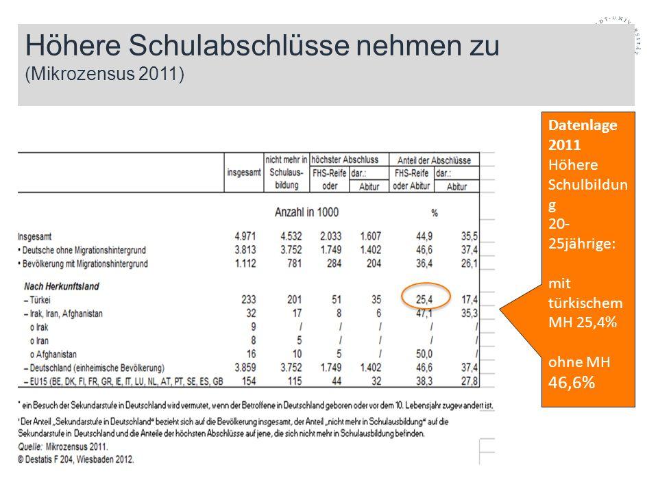 Höhere Schulabschlüsse nehmen zu (Mikrozensus 2011) Datenlage 2011 Höhere Schulbildun g 20- 25jährige: mit türkischem MH 25,4% ohne MH 46,6%