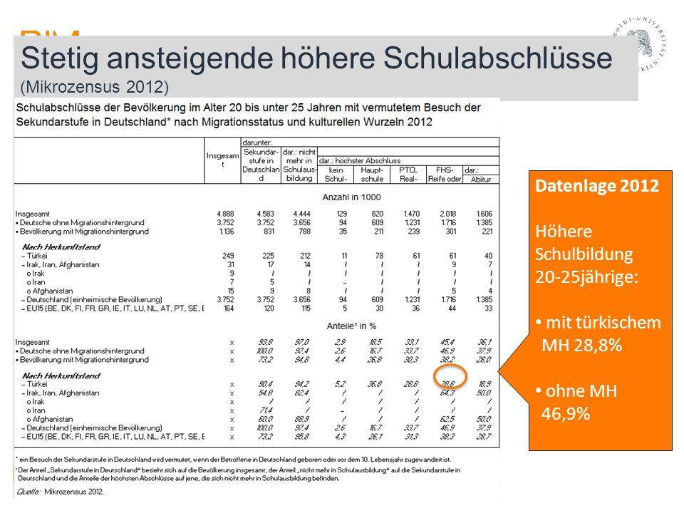 Stetig ansteigende höhere Schulabschlüsse (Mikrozensus 2012) Datenlage 2012 Höhere Schulbildung 20-25jährige: mit türkischem MH 28,8% ohne MH 46,9%