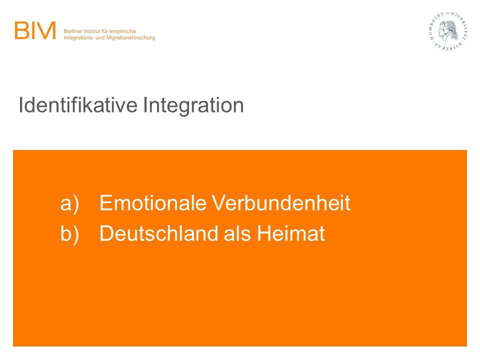 Identifikative Integration a)Emotionale Verbundenheit b)Deutschland als Heimat