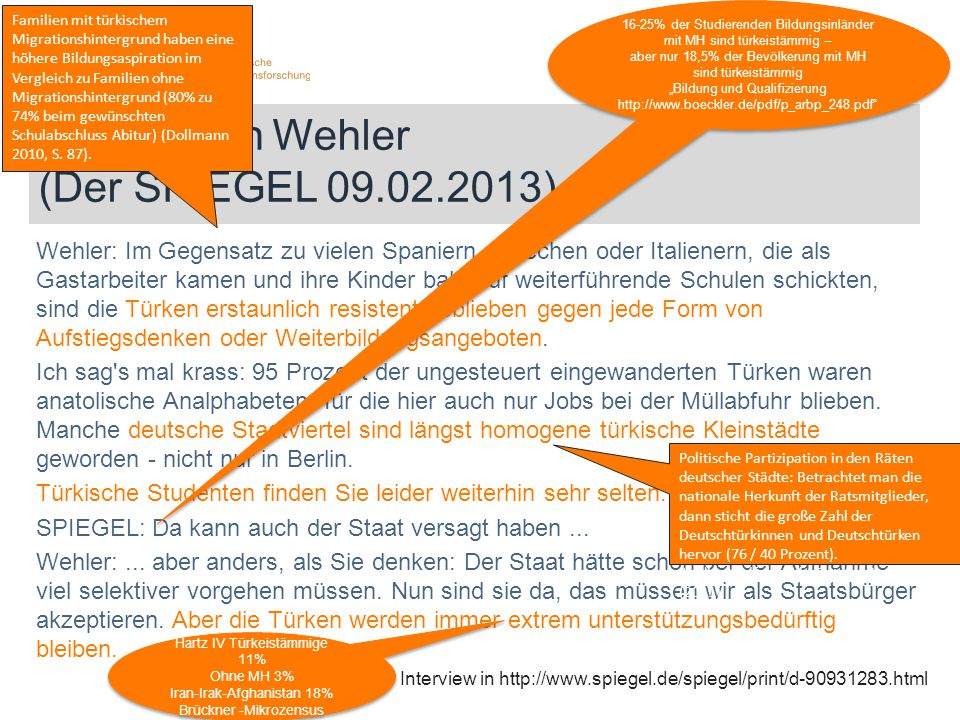 Hans-Ulrich Wehler (Der SPIEGEL 09.02.2013) Wehler: Im Gegensatz zu vielen Spaniern, Griechen oder Italienern, die als Gastarbeiter kamen und ihre Kin